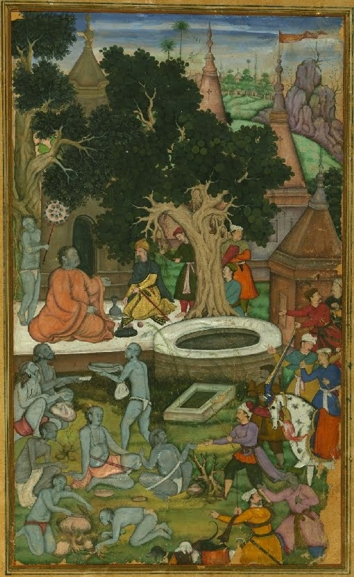 Indian mughal MS miniature of Hindu devotees outdoors partly clothed
