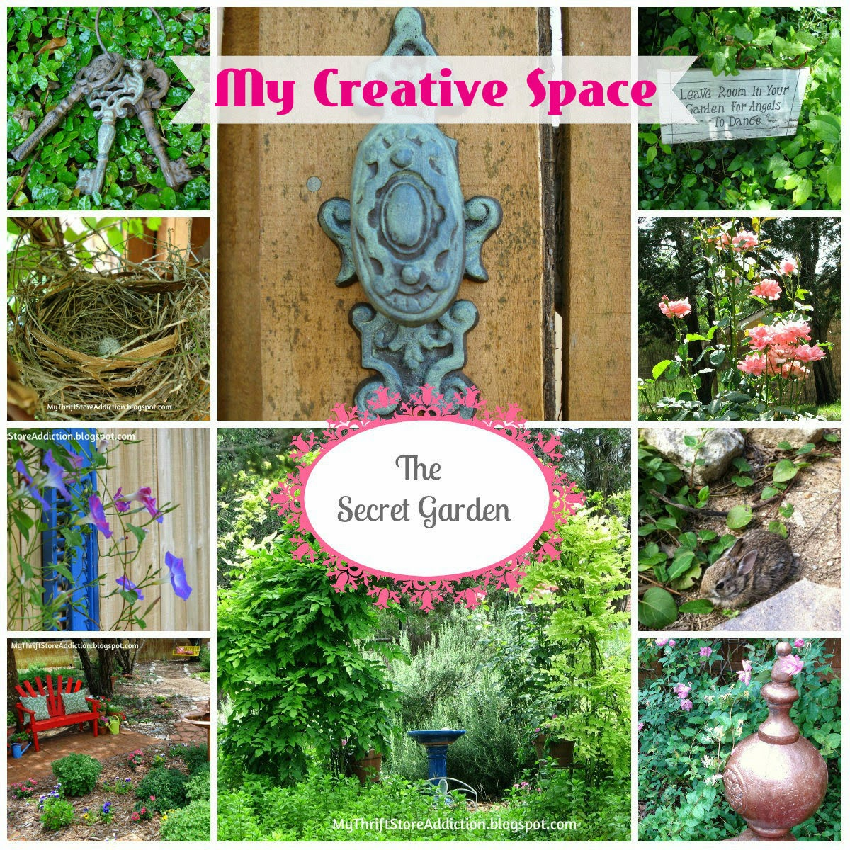 Welcome to Secret Garden: My Creative Space! mythriftstoreaddiction.blogspot.com My whimscial repurposed creative space and home of Secret Garden Herbs