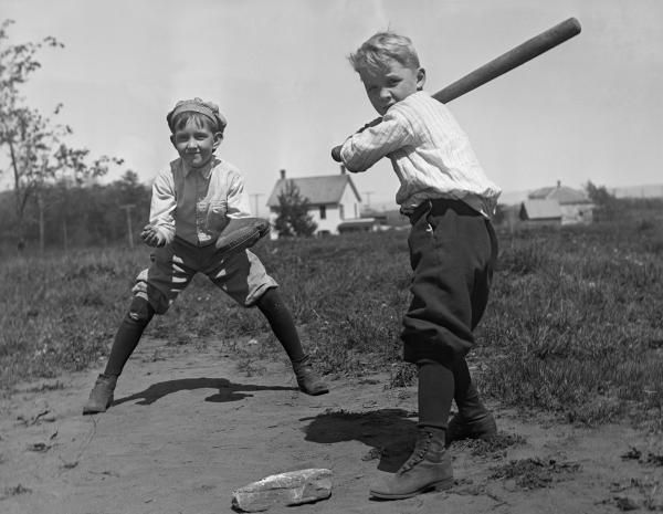Young boys playing baseball in a lot. c1910 Go Home, marchmatron.com