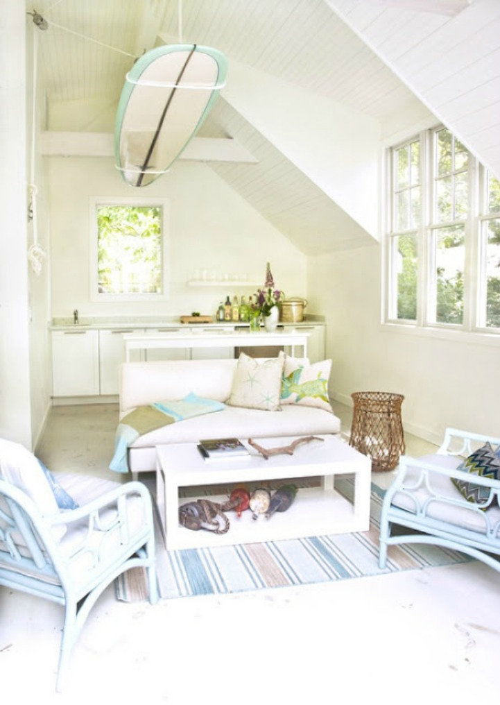 Coastal shabby chic surf shack decor