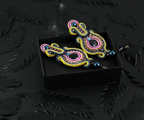 Handmade, soutache, earrings, Colorful, jewelry, Handcrafted, jewelry, Stylish, luxury, blue sand, in a box, jewellery box,