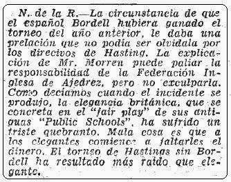 Nota explicativa en ABC sobre el desaire al ajedrecista Bordell