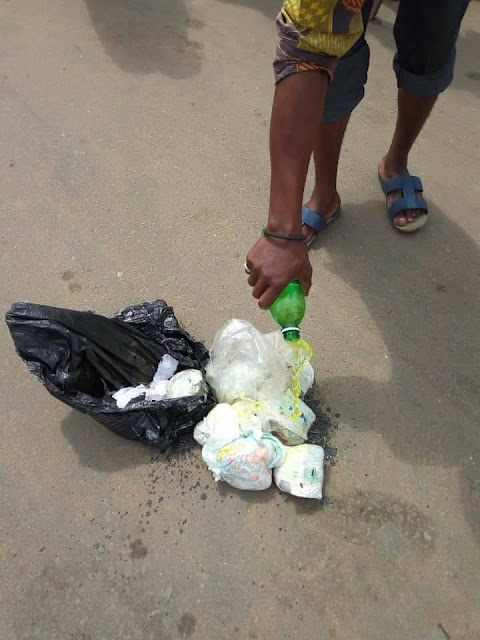 A man raised alarm after he caught a woman picking sanitary pads kids Diapers
