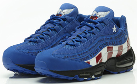 best sneakers 16c20 fc013 Designed by Mike Armstrong for the 2007 Nike Doernbecher Freestyle  Collection, this Nike Air Max  95 LE DB comes in a varsity royal, white and  varsity red ...
