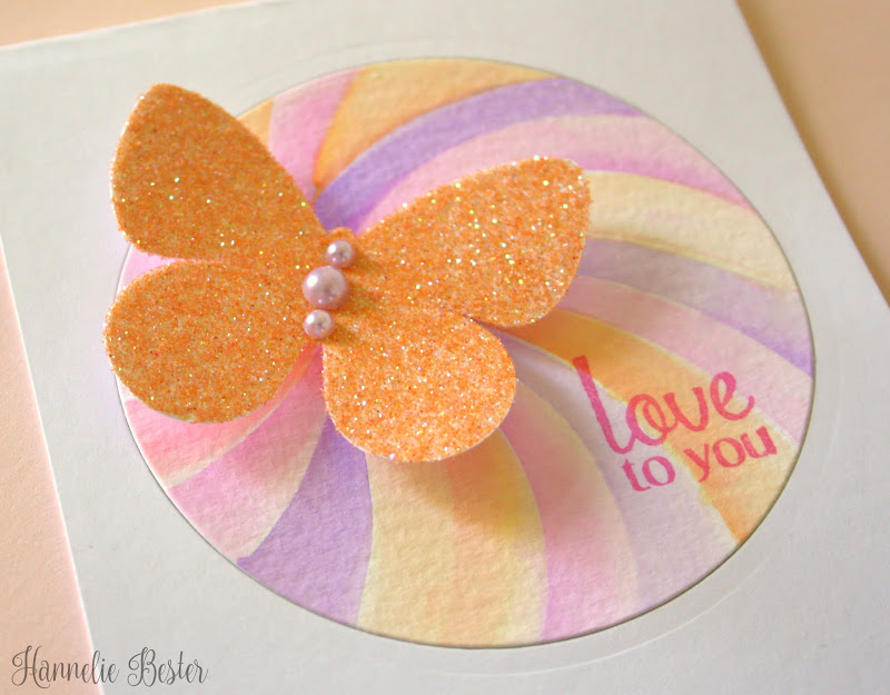 watercolor and glitter butterfly card