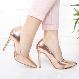 Pantofi Scarllet bronz cu toc stiletto eleganti si ieftini