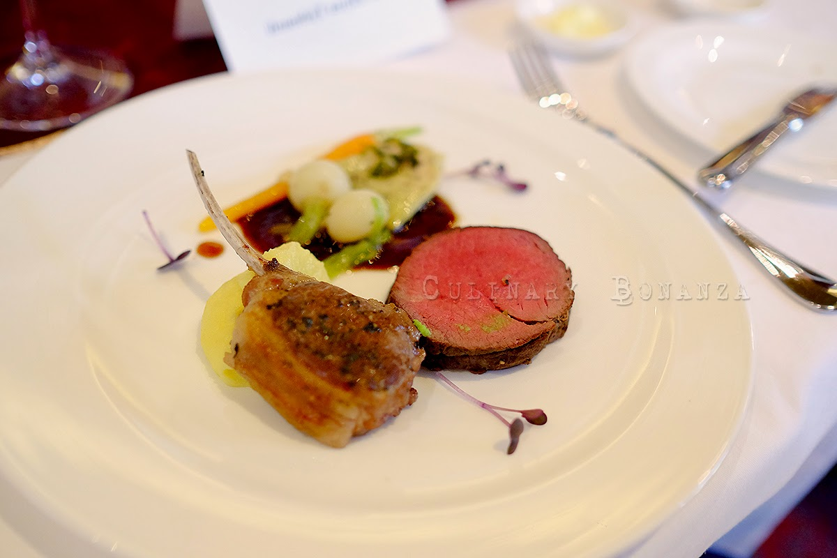Duo of roasted Silver Fern lamb and 4 pepper crusted Riverland beef, baby root vegetables & mint sauce. Wine: Astrolabe Pinot Noir 2011