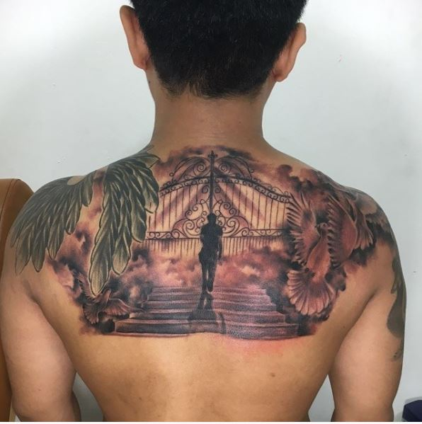 50 aneglic heaven tattoos ideas and designs 2018 page for Stairway to heaven tattoo chest