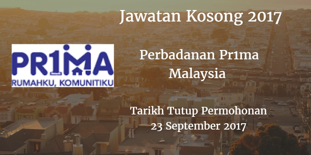 Jawatan Kosong Perbadanan Pr1ma Malaysia 23 September 2017