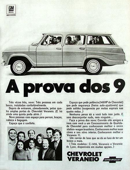 Propaganda antiga da Chevrolet para promover a Veraneio no começo dos anos 70