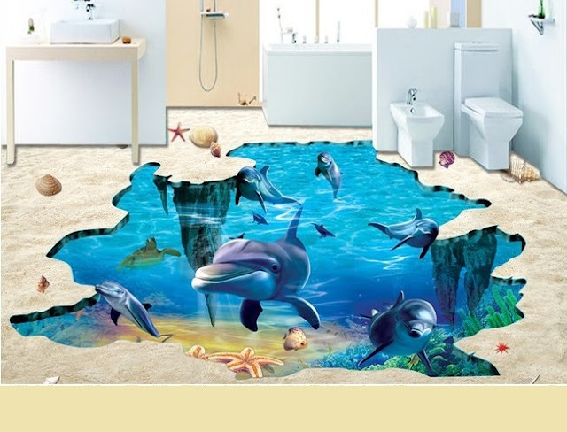 bathroom 3D flooring designs with realistic dolphins