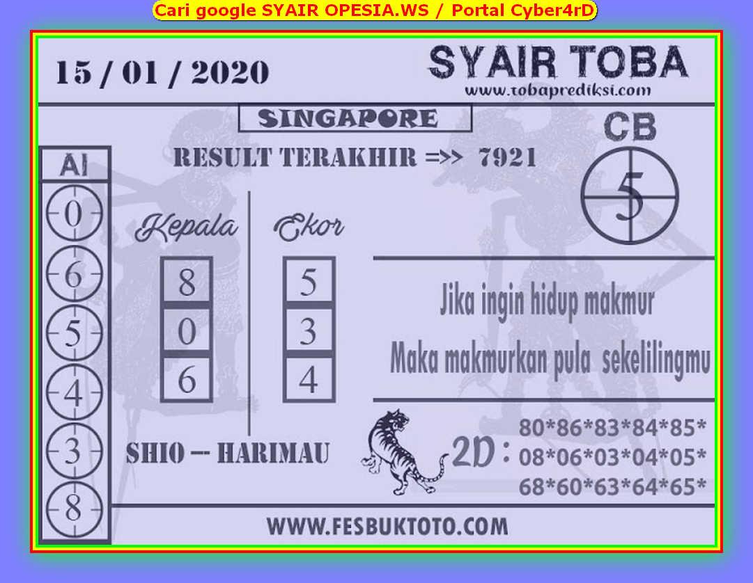 Kode syair Singapore Rabu 15 Januari 2020 83