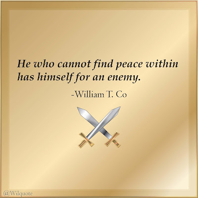 He who cannot find peace within has himself for an enemy.