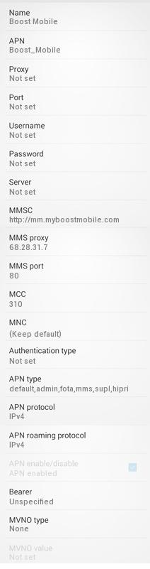 Boost Mobile US APN Settings for Android