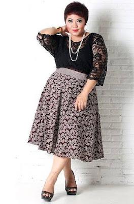 model baju batik wanita gemuk terlihat langsing