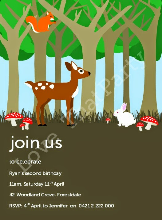 Woodland Party Printable Invitation by Love That Party. Shop now at http://lovethatparty.bigcartel.com/product/woodland-party-printable-invitation-digital-file