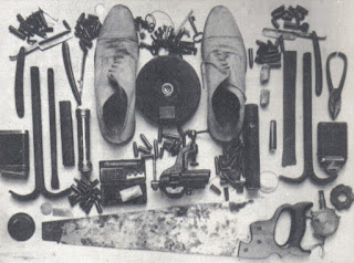 The stash of equipment used by Meneghetti that was discovered by police after he was arrested