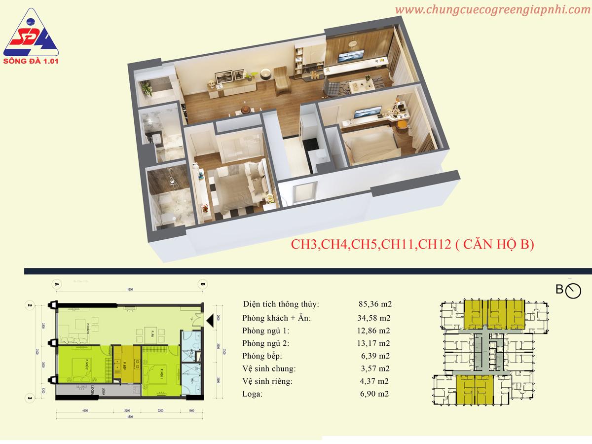 Thiết kế căn hộ CH11 Eco Green Tower