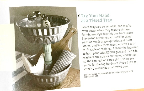 Vintage tiered tray featured in Farmhouse Style Magazine