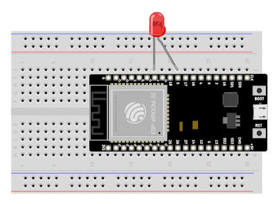 Circuito módulo ESP32 e led