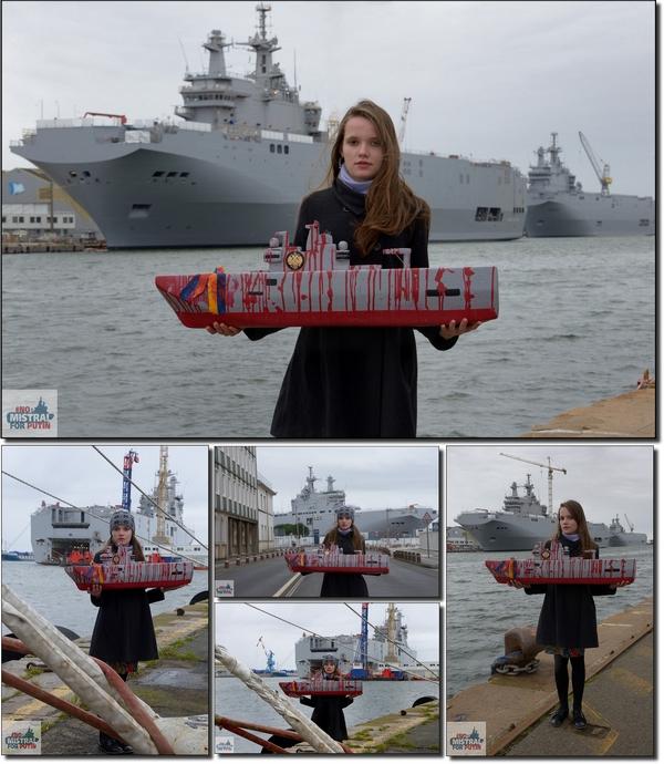Maquette Mistral sanglant, allégorie Olesia, St Nazaire 21/02/2014, photo de Bernard Grua, no Mistrals for Putin