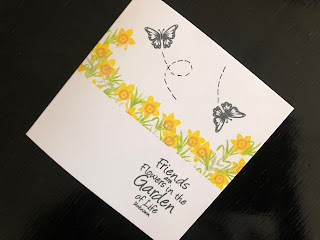 Hand Made Friends Card with Cardio Golden Daffodils Stamp Set