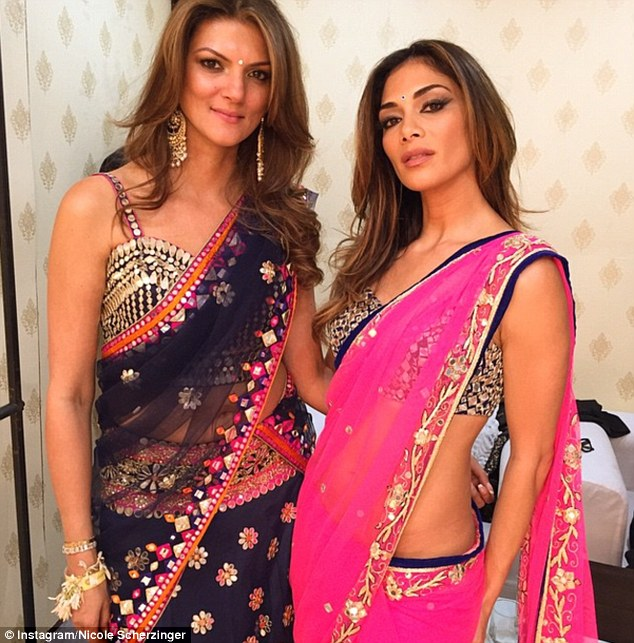 Nicole Scherzinger (right) in saree