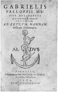 The title page of Falloppio's book of Anatomical Observations