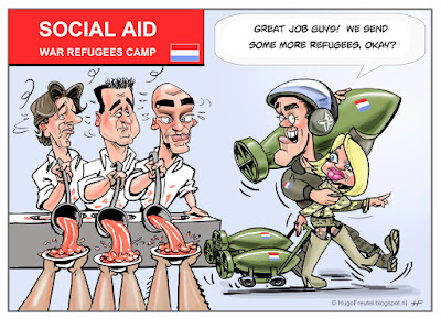 cartoon social aid for refugees and war affairs Koenders Asscher Samsom Rutte Hennis