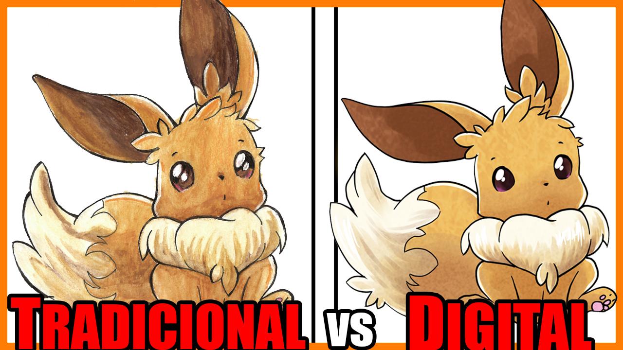 Arte Tradicional e Arte Digital | Eevee - Pokémon