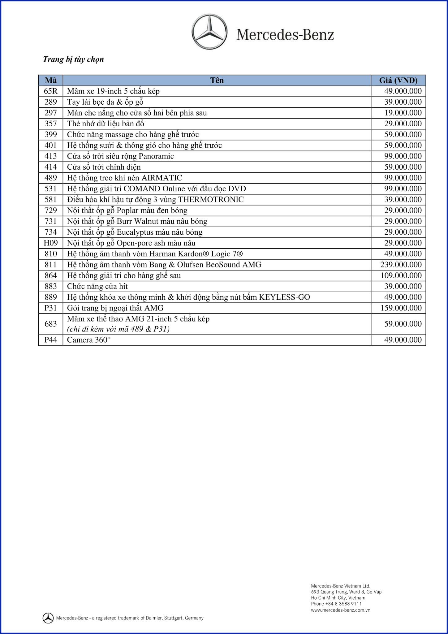 Bảng thông số kỹ thuật Mercedes GLE 400 4MATIC 2017 tại Mercedes Trường Chinh