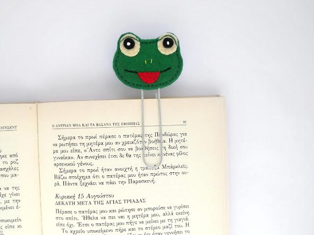 felt frog bookmark