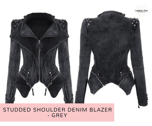 Studded Shoulder Denim Blazer - Grey | Lookbook Store