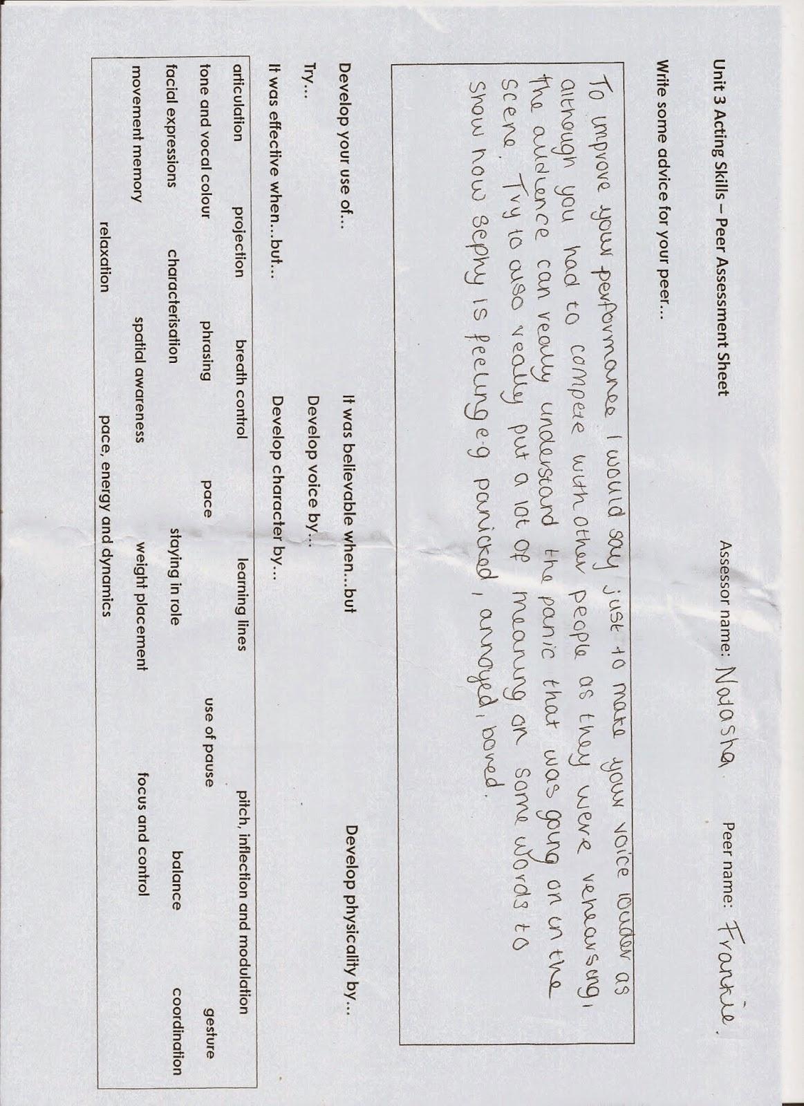 Unit 3 Acting Skills: Peer Assessment Sheet