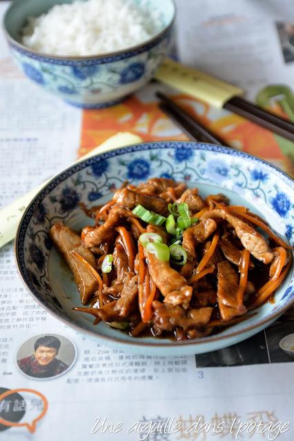 Emincé de porc sauté, sauce aux haricots sucrée cuisine chinoise