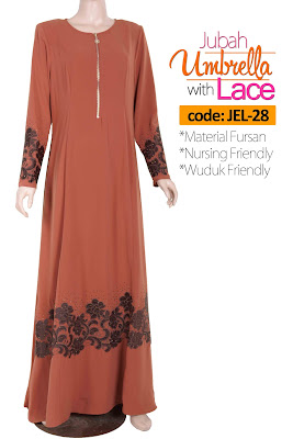 Jubah Umbrella Lace JEL-28 Persian Brown Depan 2