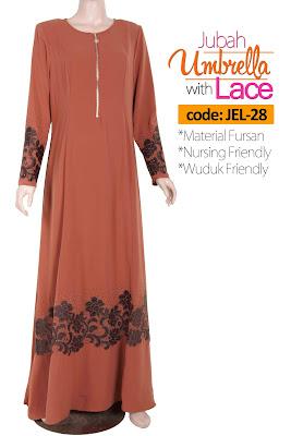 Jubah Umbrella Lace JEL-28 Persian Brown Depan 2