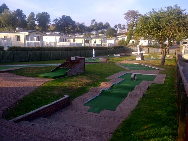 The Arnold Palmer Crazy Golf course at the Ladram Bay Holiday Park in Otterton, Devon