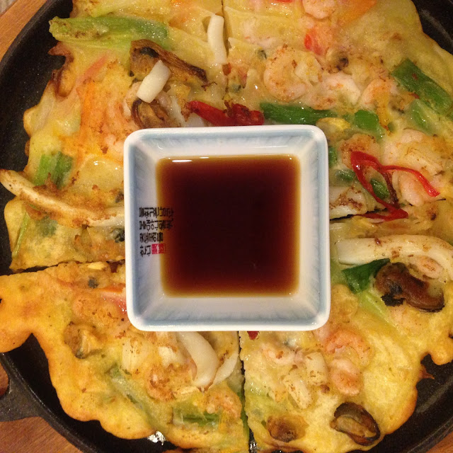Jeon Seafood Pancake at Sarangchae restaurant in Nottingham.
