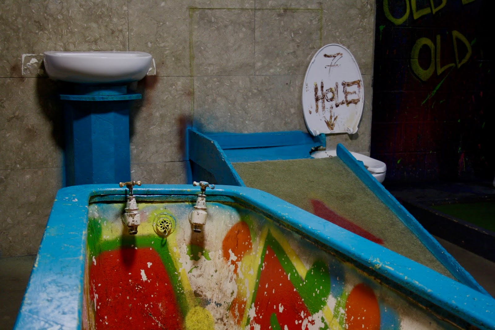 a toilet themed mini golf hole at Ghetto Golf, Digbeth, Birmingham