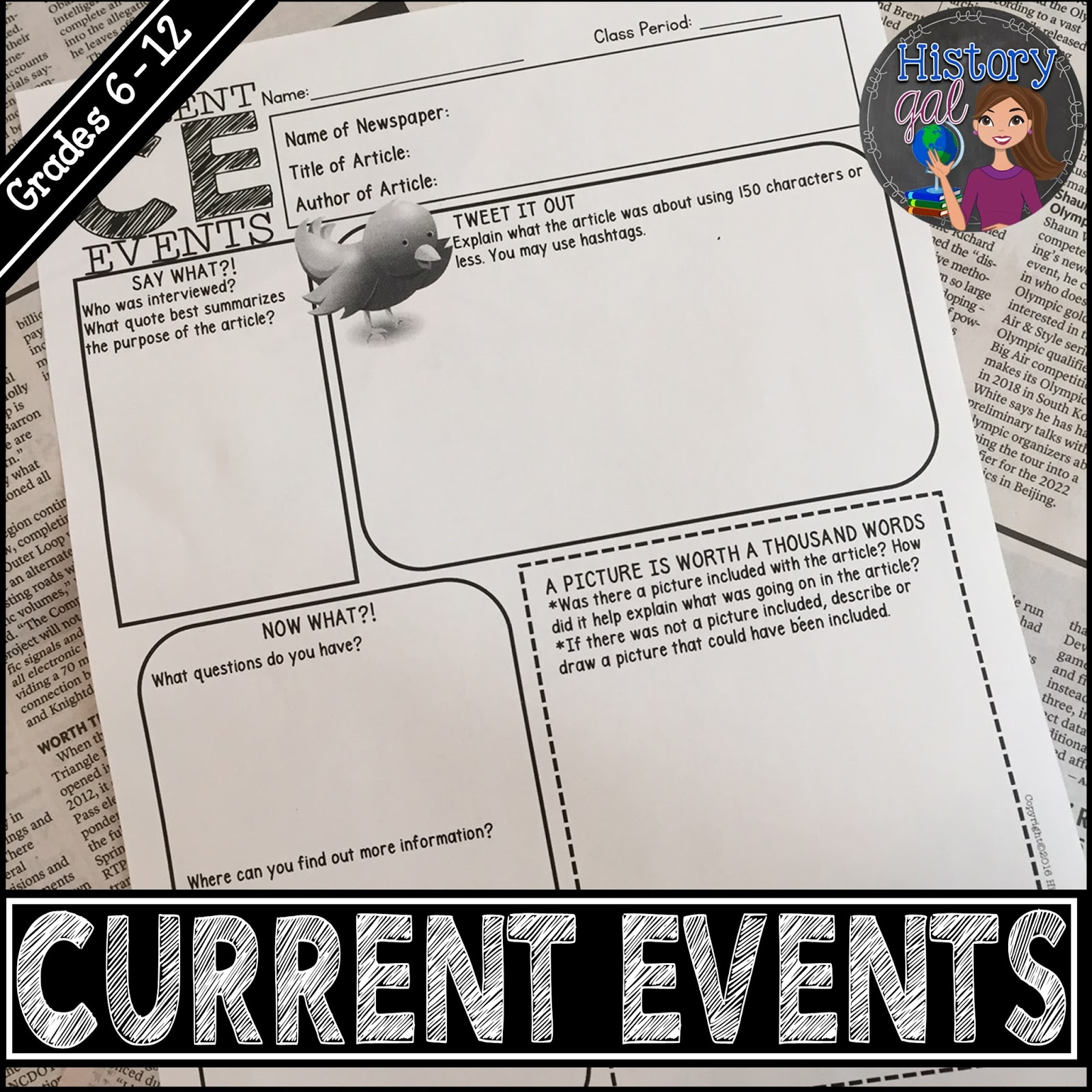 Free Current Events Worksheet from History Gal