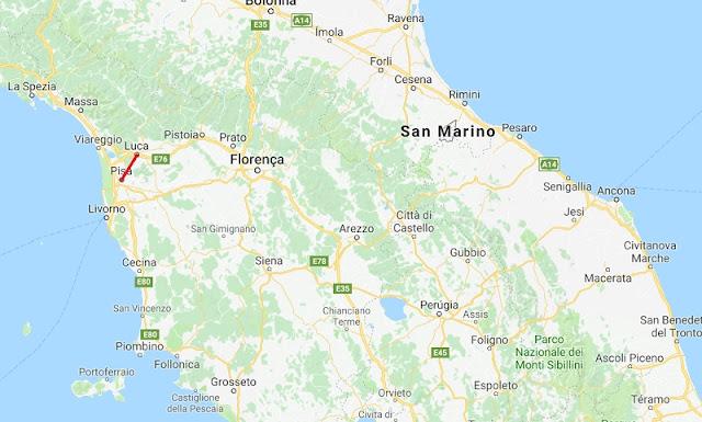 Mapa da viagem de Pisa a Lucca