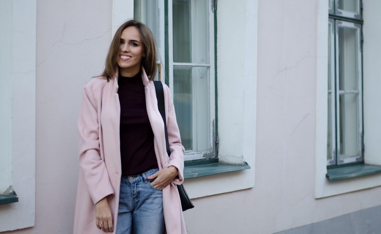 pink coat burgundy jumper