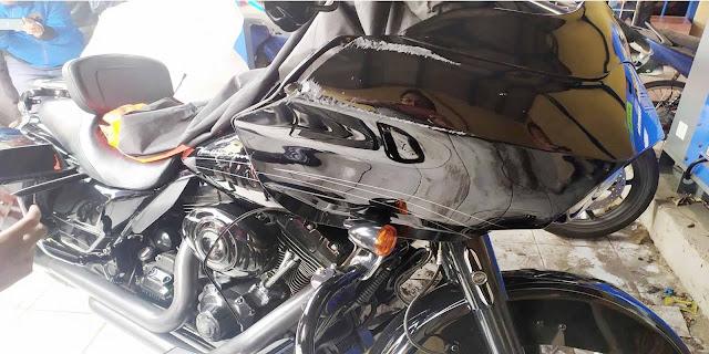 Penampakan motor Harley Davidson yang menabrak nenek dan cucunya di Bogor