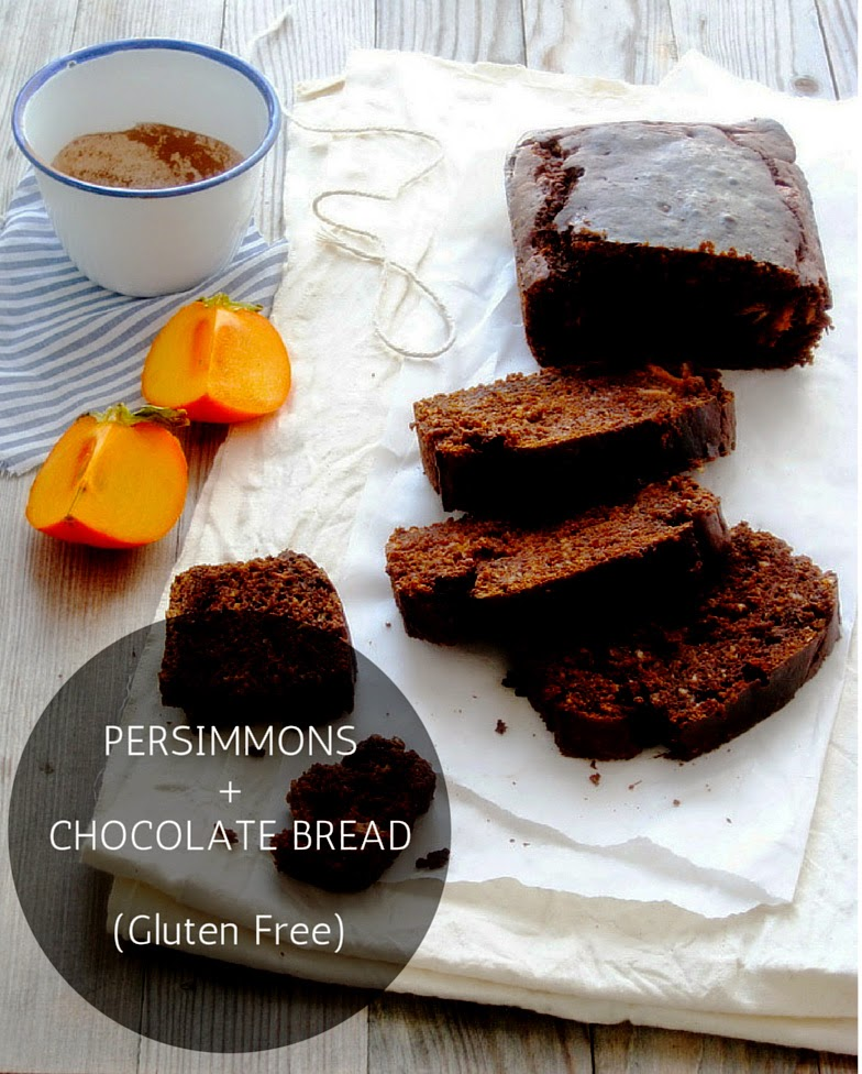 Persimmons and Chocolate Bread, Gluten Free ,make it refined sugar free, easy baking, Copyright aldentegourmet blog, Copyright Aldyth Moyla Photography