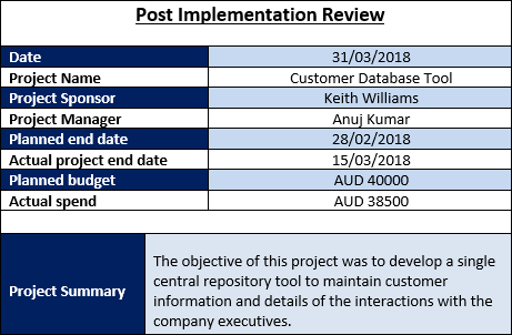 Post implementation review and post project review for Post implementation plan template