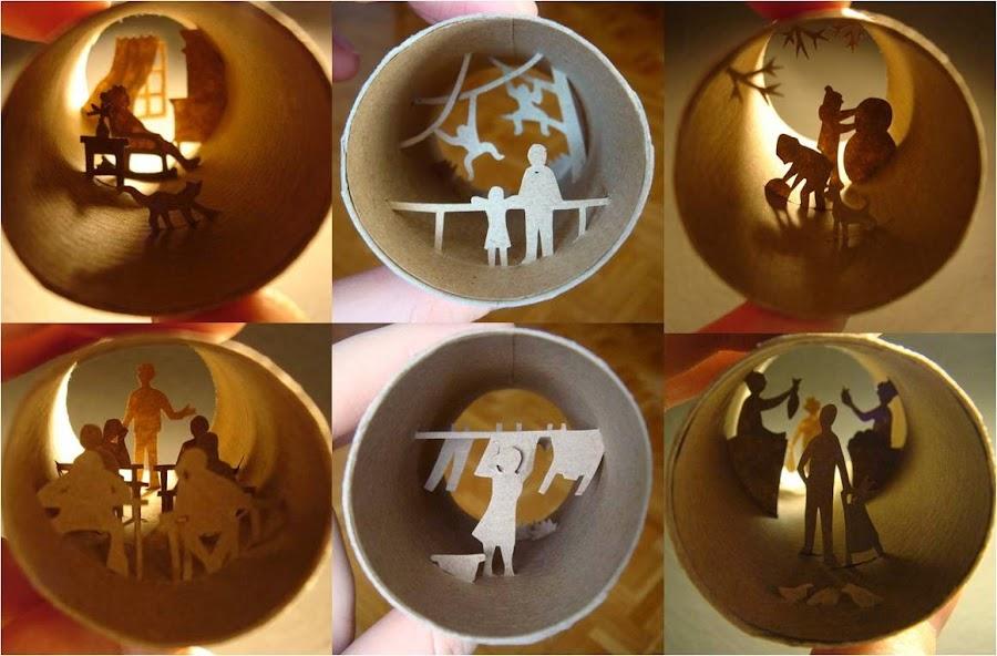 Arte en miniatura con tubos de papel film reciclados