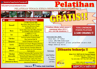 Brosur pelatihan gratis Cevest Bekasi