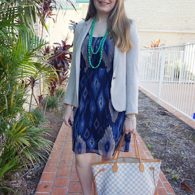 awayfromblue instagram Aztec print navy dress cream blazer with Louis Vuitton neverfull tote