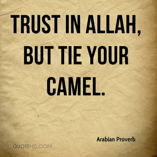 Trust in Allah, But tie your camel - Quote